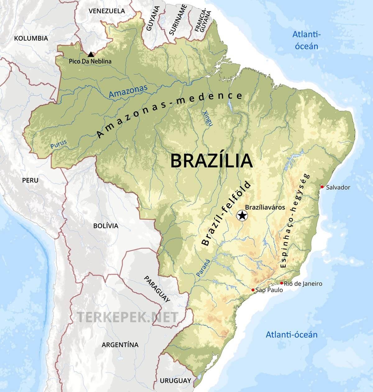 brazília térkép Brazília domborzati térképe brazília térkép